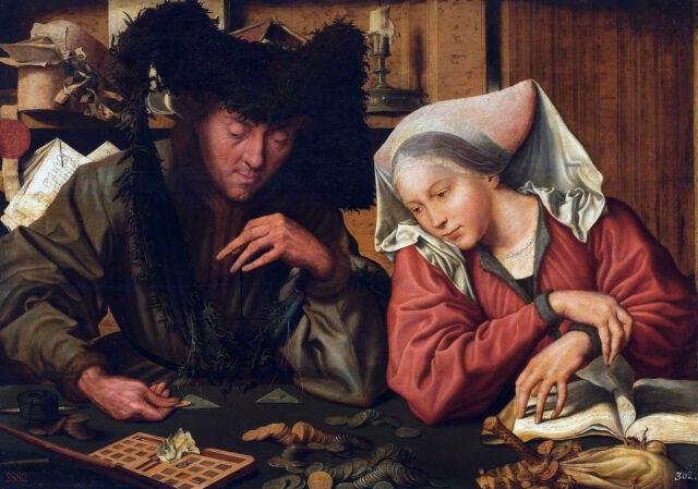 """""""De Geldwisselaars"""" van Marinus van Reymerswale, Hermitage"""